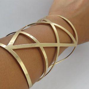 Express Gold Geometric Cuff Bracelet